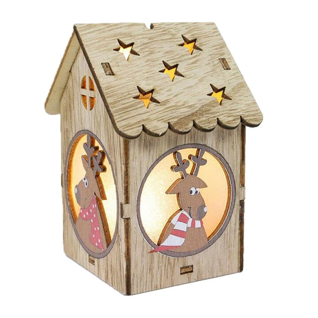 Led Luminous Cabins Pendant LED Light Wooden Dolls House Villa Christmas Ornaments Xmas Tree Hanging Decor USPS Dropshipping - LADSPAD.COM