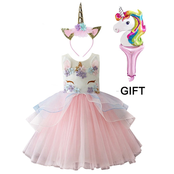 4 Colors Princess Unicorn Costume Party Wedding Embroidered Tulle Baby Girls Dresses with Cartoon Headband Ballon 3Pcs - LADSPAD.COM