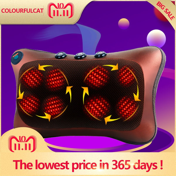 Neck Massager Car Home Cervical Shiatsu Massage Neck Back Waist Body Electric Multifunctional Massage Pillow Cushion - LADSPAD.COM