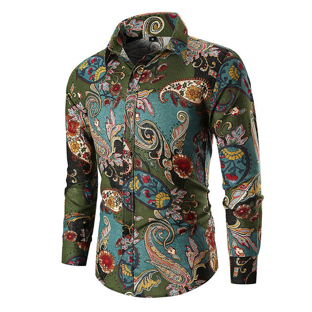 Vintage Paisley Print Hawaiian Shirt Men 2018 Autumn New Long Sleeve Mens Dress Shirts Wedding Party Prom Shirt Chemise Homme - LADSPAD.COM