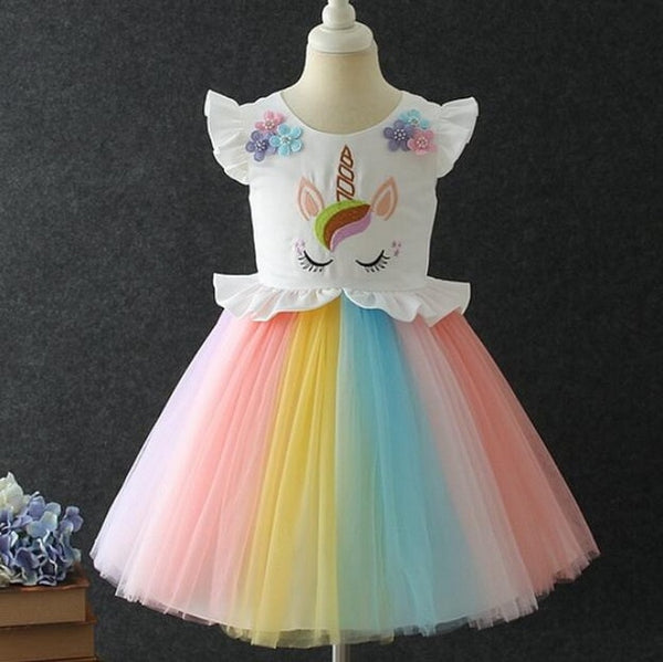 Girls Unicorn Costume Dress Princess Flowers Rainbow Dresses up Child Cosplay Wedding Party Tutu Sleeveless Fancy Up 2-10 Years - LADSPAD.UK