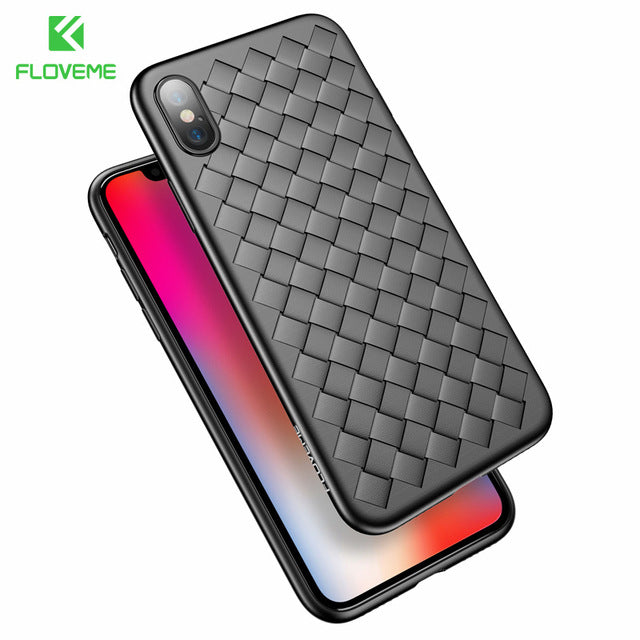 FLOVEME Super Soft Phone Case For iPhone 8 X XS Max Luxury Grid Cases For iPhone 6 6s 7 8 Plus XR XS Cover Silicone Accessories - LADSPAD.COM