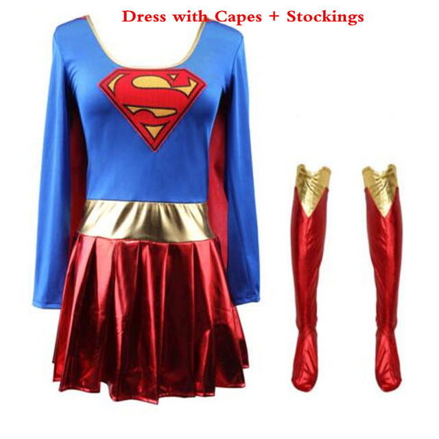 Superwoman Dress Superman Cosplay Costumes For Adult and Girls Halloween Super Girl Suit Superhero Wonder Woman Super Hero - LADSPAD.UK