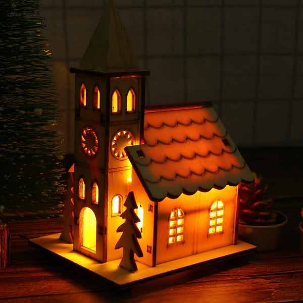 ISHOWTIENDA LED Light Wooden Dolls House Villa Christmas Ornaments Xmas Tree Hanging Decor New Year decorations for home - LADSPAD.COM