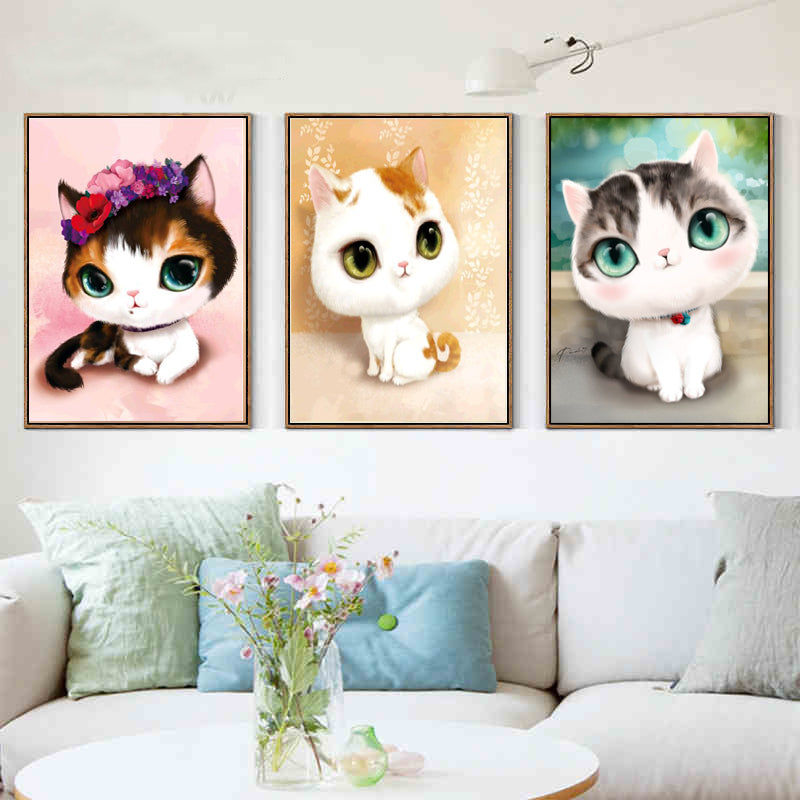 5D DIY diamond mosaic diamond embroidery bedroom cartoon animals cute cat point diamond paste diamond painting cross stitch - LADSPAD.UK