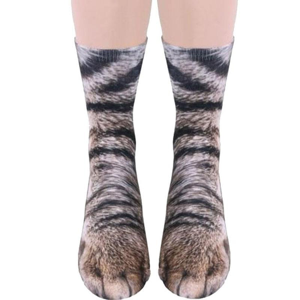 BTLIGE 3D Animals Paw Print Socks Unisex Crew Long Stocks Soft Casual Cute Cotton Socks Children Dog Horse Zebra Pig Cat Paw - LADSPAD.UK