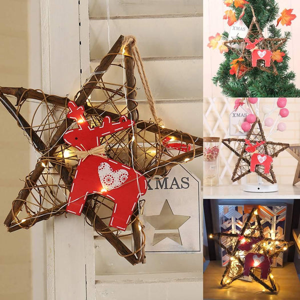 Lights for Christmas Star tree star decoration Handmade DIY LED Fairy home Picture Rattan As Decorations 20 Light Casual - LADSPAD.COM