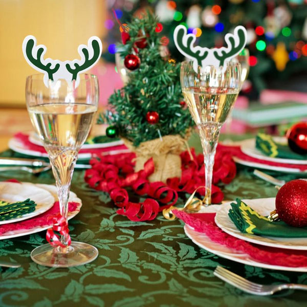 10pcs Christmas Wine Glass Paper Cards Santa Claus Hat Cup Card Xmas Decor Christmas Wedding Party Table Decoration Place Cards - LADSPAD.COM
