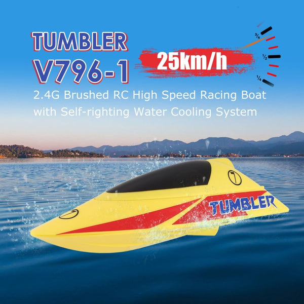 TUMBLER V796-1 25km/h 2.4G Brushed High Speed RC Racing Boat Speedboat Ship with Water Cooling System Self-righting Kids Gift - LADSPAD.UK