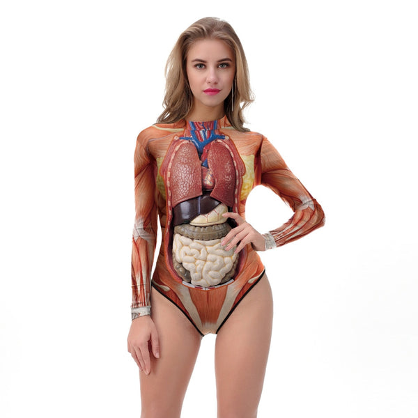 Halloween Party Swimsuit Women 2018 New 3D Human Body Organs Printed Bodysuit Long Sleeve One Piece Swimsuit Tight Beachwar
