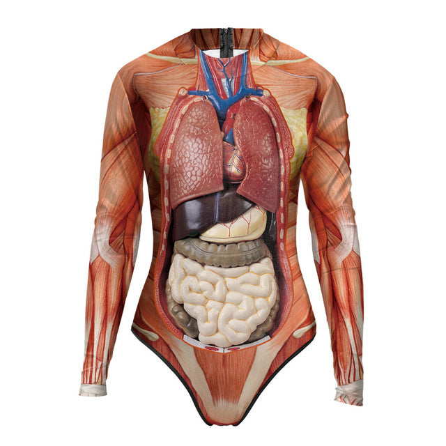 Halloween Party Swimsuit Women 2018 New 3D Human Body Organs Printed Bodysuit Long Sleeve One Piece Swimsuit Tight Beachwar - LADSPAD.COM