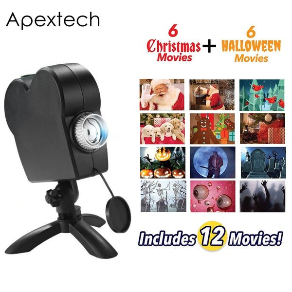 Christmas Halloween Window Decoration LED Movie Display Projector Effect Light 12 Movies Showing on Window Perfect For Holiday - LADSPAD.UK