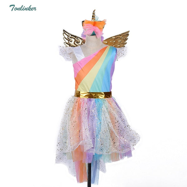 Girls Christmas Unicorn Costume With Headband Gold Wings for Kids Pony Rainbow Tutu Dress Children Halloween Theme Party Dress