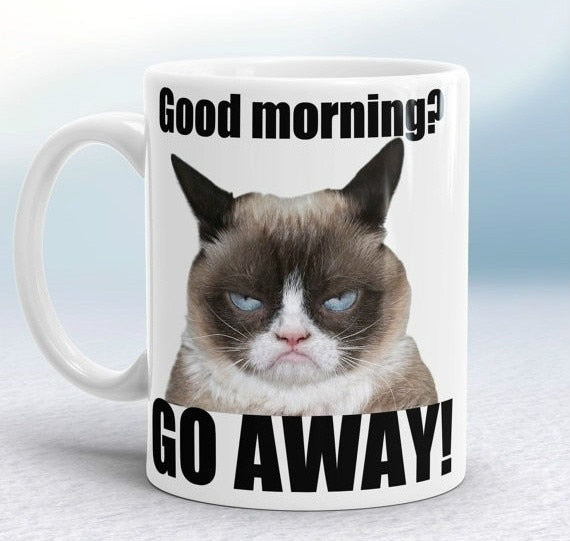 Grumpy Cat Mugs Coffee Ceramic White Mugs Printed Novelty Porcelain Beer Tea Kitchen Drinkware Cup