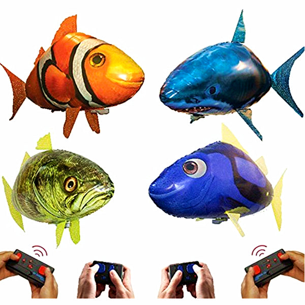 Remote Control Flying Shark Clownfish Fish Toys Air Swimming Fish Infrared RC Flying Air Balloons Kids Gifts Party Decoration - LADSPAD.UK