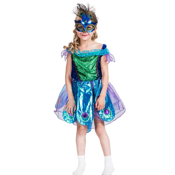 Peacock Girls Costume Child Animal Bird Halloween Book Week Party Showgirl Kids - LADSPAD.UK
