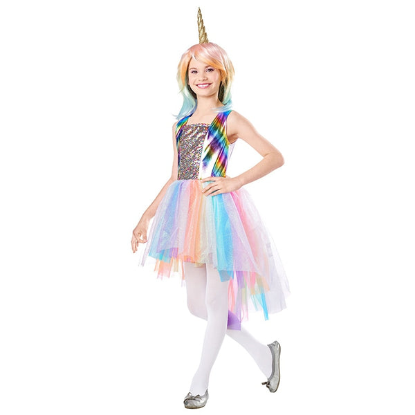 Kids Halloween Princess Girls Unicorn Fancy Dress Costume With Wig (3-12 Years)
