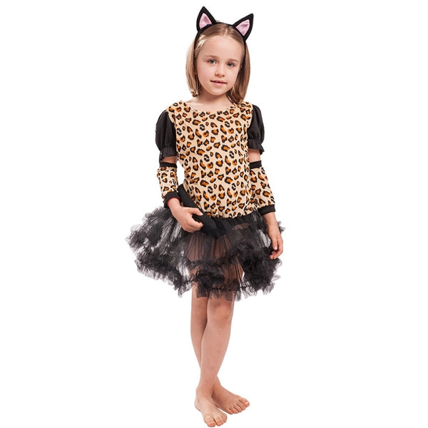 Girls Little Leopard Cat Catsuit Dress Halloween Child Costume