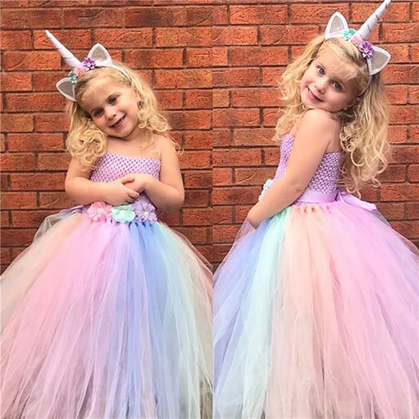 Unicorn Costume Rainbow Unicorn Tulle Baby Girl Dress Christmas Halloween Cosplay Flower Girl Wedding Party Dresses + Headband - LADSPAD.COM