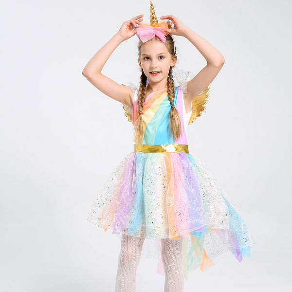 Kids Beautiful Unicorn Costume Dress Halloween Party Dress