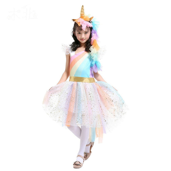 pink unicorn costume kids rainbow unicorn dress children cosplay tutu dress fancy birthday baby halloween costumes for girls - LADSPAD.COM