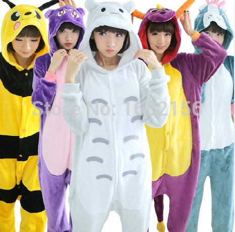 Kigurumi Winter Unisex Adult Animal Pajamas Cosplay Costume Flannel Onesie Sleepwear Panda Dragon Totoro Unicorn Raccoon Coon