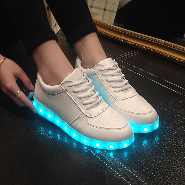Luminous Glowing USB Charge Boys / Girls LED Shoes Shuffle Shoes - LADSPAD.COM