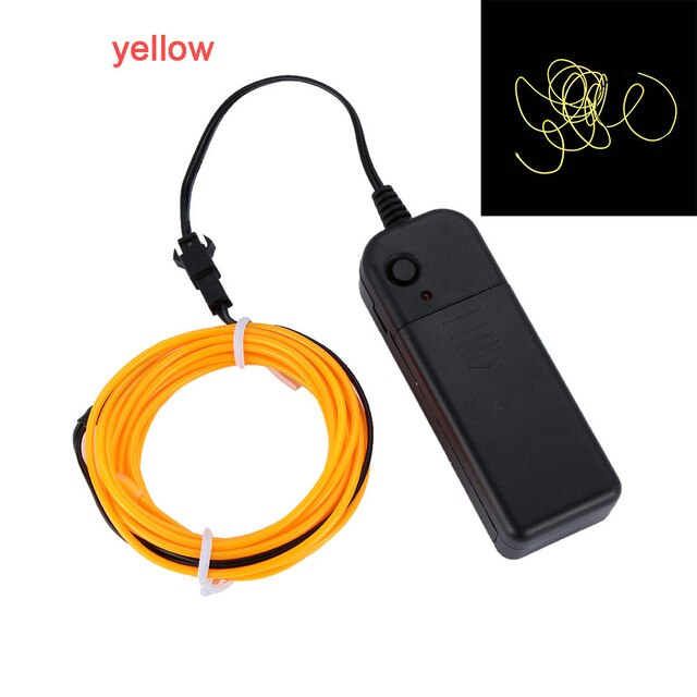 1/3/5M Neon LED Glow Wire Light Flexible EL Wire Rope Tube Fairy String Lights Decor Light Shoes/Clothes/Car/Party Decoration - LADSPAD.COM