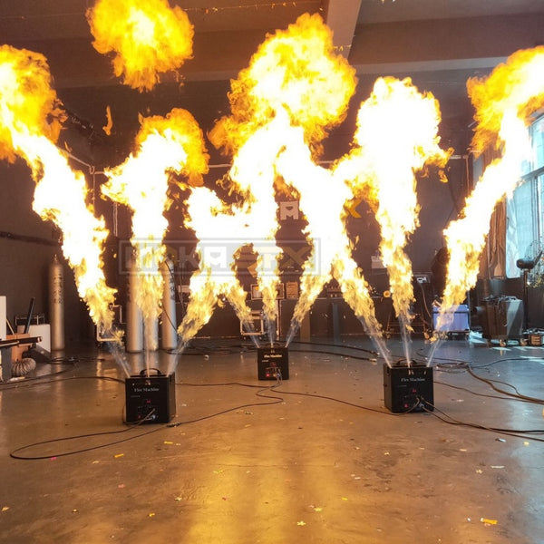 1pcs Triple Way Fire Flame Machine DJ Effect Equipment DMX Control for Outdoor Disco Show Nightclub Club Stage Party Decoration