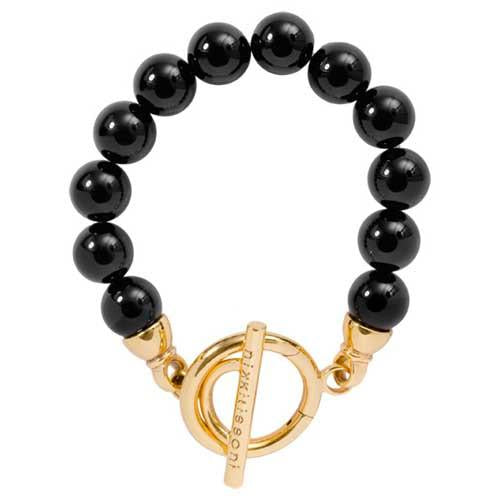 Black Onyx Bracelet Gold Plate T-Bar Closure