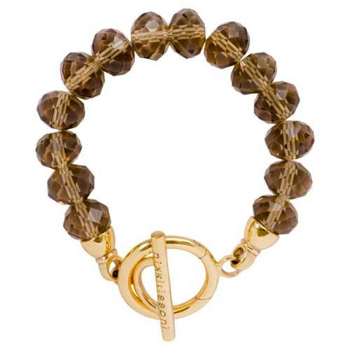 Smokey Glass Crystal Bracelet Gold Plate T-Bar Closure