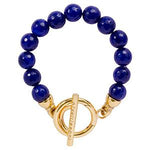 Dyed Blue Jade Bracelet Gold Plate T-Bar Closure