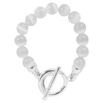 White Cats Eye Silver Bracelet Plated