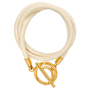 Ivory Leather Wrap Bracelet Gold Plated