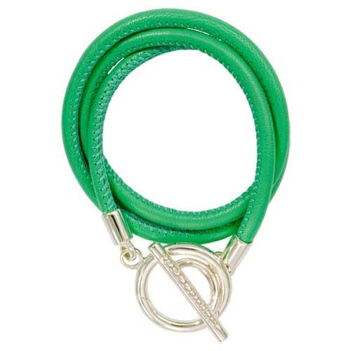 Green Leather Wrap Bracelet Silver Plated