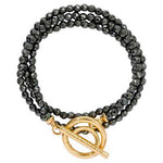 Black Pyrite Wrap Bracelet Gold Plated