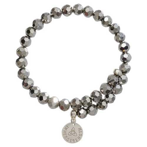 Grey Bead Charm Bangle Silver Plate