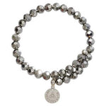 Grey Bead Charm Bangle Silver Plated
