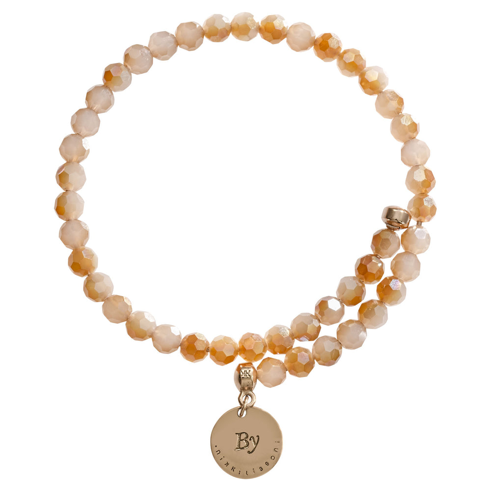 Peach Bead Charm Bangle Rose Gold Plated