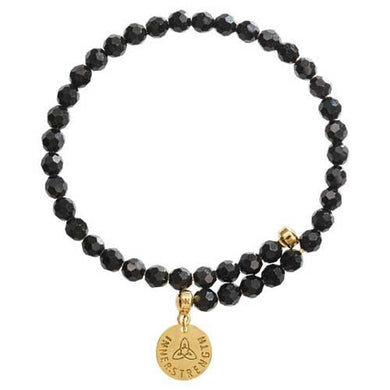 Black Bead Charm Bangle Gold Plate