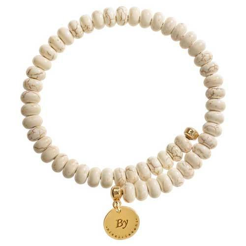 Beige Ceramic Bead Charm Bangle Gold Plate