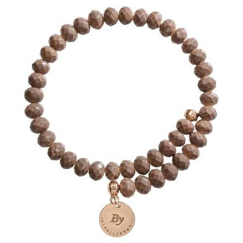 Taupe Brown Bead Charm Bangle Rose Gold Plate