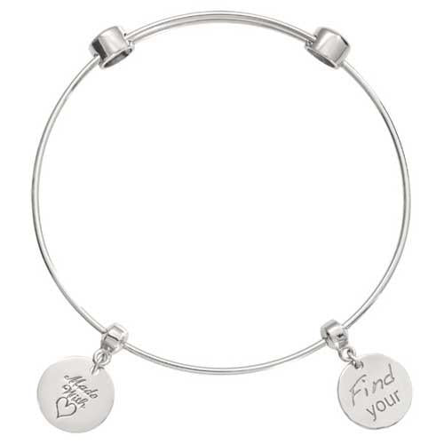 Find Your Inner strength Silver Plated Bangle