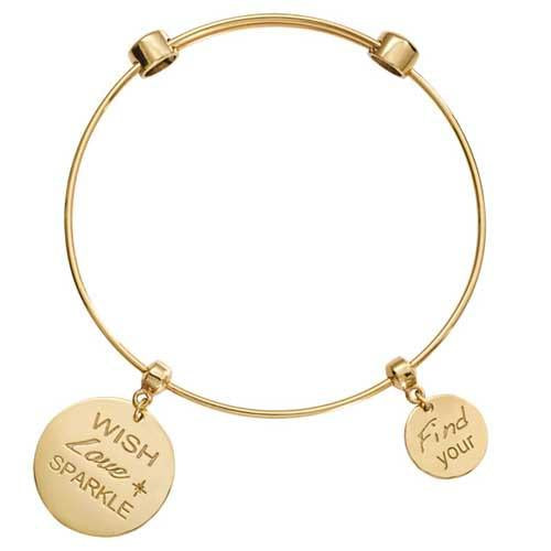 Wish Love Sparkle Bangle Gold Plate