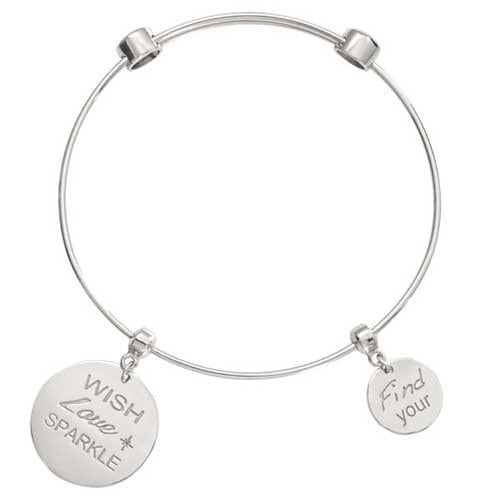 Wish Love Sparkle Bangle Silver Plate