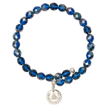 Blue Bead Charm Bangle Silver Plate
