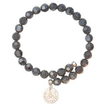 Dark Grey Bead Charm Bangle Silver Plate