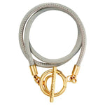 Grey Leather Wrap Bracelet Gold Plated