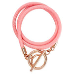 Pink Leather Wrap Bracelet Gold Plate