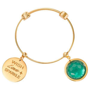 Teal Glass Bangle Gold Plate